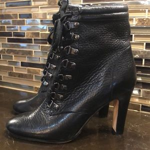 Halogen heeled leather lace up boots